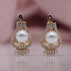 Pearl earrings gold - Rose Gold Natural Zircon Shell Pearls Long Dangle Earrings Women Wedding Tassel Noble Fine Jewelry