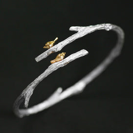 Sterling silver cuff bracelet - 925 Sterling Silver Bird On Branch Bracelet Bangles For Women Simple Open Cuff Bangle