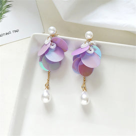 Stud earrings for women - 7 Color Sequins And Relaxed Fashion Runway Fashion Beautiful Purple Pearl Earrings Gift Female