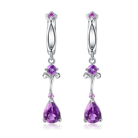 Sterling silver drop earrings - 2.87Ct Natural Purple Amethyst Drop Earring 925 Sterling Silver Flower Vintage Earrings For