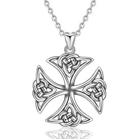 Celtic cross necklace - 925 Sterling Silver Celtics Knot Cross Pendant Girls Necklace For Women Unique Gift Sliver Jewelry