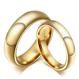 100% Tungsten Carbide Rings 4MM/6MM Wide Gold-Color Wedding Rings For Women And Men Jewelry