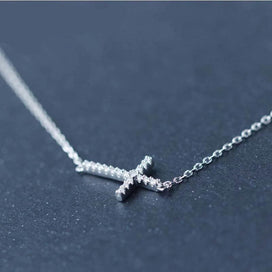 Cross necklace for women - 925 Sterling Silver Micro Pave Small CZ Horizontal Sideways Cross Necklace Pendant Sterling Silver