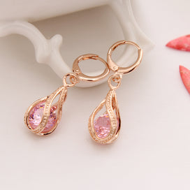 Crystal drop earrings - AAA Pink Stone Round Cut Austrian CZ Crystal Screw Rhinestone Long Drop Earrings For Women