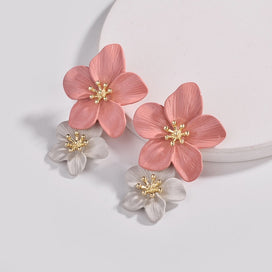 Pink flower earrings - Color Pink Flowers Stud Earrings For Women Wedding Party Jewelry Boho Metal Earrings Female