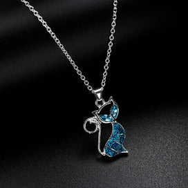 Blue crystal necklace - 1pc Cute Cat Pendant Blue Opal Necklace Fashion Women's Animal Jewelry Gift For Women