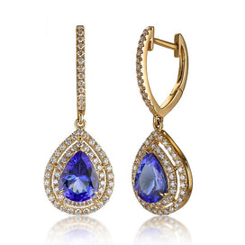 Diamond earrings for women - 14K Yellow Gold 1.823ct Blue Tanzanite 0.60ct Natural Diamond Engagement Drop Earrings