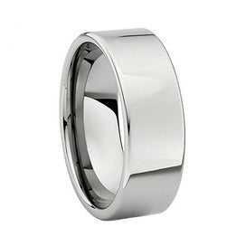 8mm Carbide High Polish Classic Pipe Cut Wedding Band Ring For Men Or Ladies