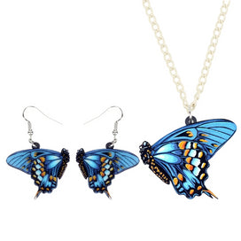 Blue butterfly necklace - Acrylic Elegant Flying Blue Butterfly Earrings Necklace Collar Insect Jewelry Sets For Women Girl