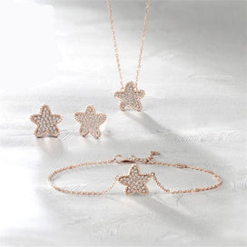 Dainty star necklace - 18K White Gold Real Diamonds Jewelry Sets Sea Star Bracelet Necklace Earring Gifed For Women Wedding