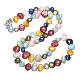 Multi color beads necklace - 6-8mm Baroque Pearl Beaded Strand Choker Necklaces Colorful Pearl Natural Freshwater Pearl For