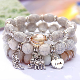 Charm bracelets for girls - 3 Layers Beaded Charms Bracelet Silver Elephant Pendant Chain Bracelet Wedding Jewelry Retro