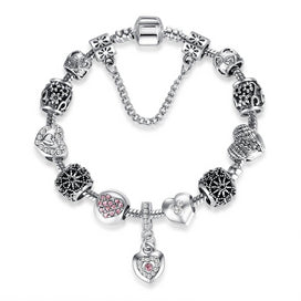 Silver chain bracelet womens - Authentic Silver Charm Bracelet & Bangle With Safety Chain Crystal Heart Beads Bracelet