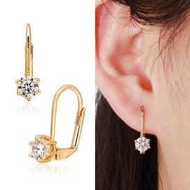 Cute Gold Color Six Claw Solitaire Round AAA CZ Zircon Small Clip On Earrings For Women Girls Wedding Bridal Jewelry