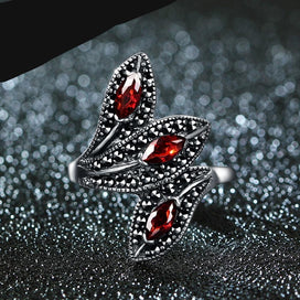 Vintage garnet rings - 100% 925 Sterling Silver Rings For Women Retro Natural Precious Stones Vintage Thai Silver Rings