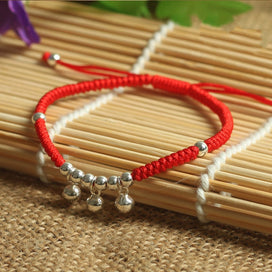 925 Sterling Silver  Small Bell Pendant Lucky Red Rope  Bracelet  Handmade Bangle  Wax String  Amulet  Jewelry