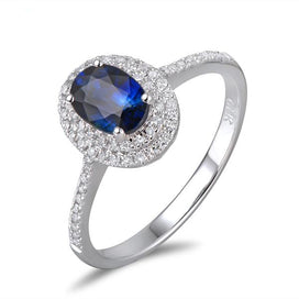 Sapphire and diamond ring - 14k Gold 1.11ct Sapphire & 0.30ct Natural Diamond Engagement Ring Fine Jewelry