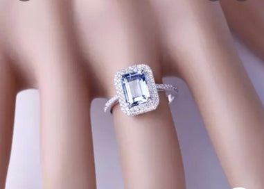 Emerald and diamond ring - 6x8mm Emerald Cut Aquamarine 14k White Gold Natural 0.38ct Diamond Ring Fine Jewelry