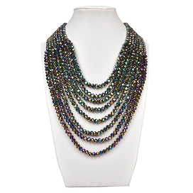 Multi strand pearl necklace - Black Beads Has A Tinted Sheen And Silver Multi-layer Round Transparent Pearl And Glass Crystal