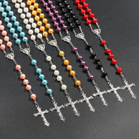 Cross necklace for women - 7 Colors 8mm Simulated Pearl Beads Rosary Necklace Virgin Mary Christian Catholic Religious Long