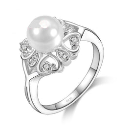 Promise rings for girls - Beautiful Band Jewelry Promise Ring Hollow Hearts & Pearl S90 Silver Fashion Jewelry CZ Crystal