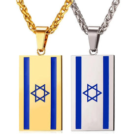 Jewish star necklace - Israel Flag Necklace Stainless Steel Pendant & Chain For Women Personalized Magen Star Of David