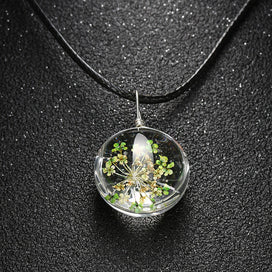 Dried flower necklace - 1PC Handmade Real Dried Flower Dandelion Pendants Necklace Crystal Seed Glass Necklaces Leather Rope