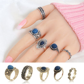Anniversary rings for her - 5 pcs/Set Vintage Retro Carving Antique Gold Color With Black Stone Rings Sets For Women Midi