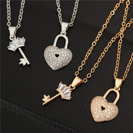 Lock and key necklace - 2pcs/lot Silver & Gold Color Best Friends Forever Key Lock Christmas Gif For Women Gold Chain