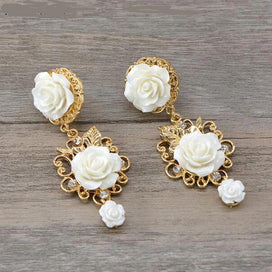 Flower dangle earrings - Baroque Vintage Rose Drop Earrings Fashion Gold White Flower Dangle Earrings 1pair Court Style Party