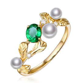 Engagement rings for women - 14k Yellow Gold Natural 0.32ct Emerald with Pearl & Diamond Vintage Design Engagement Ring