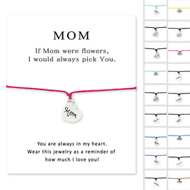 Charm bracelets for girls - Mom Heart Card Bracelets Daughter Grandma Grandpa Sister Dad Father Brother Uncle Aunt Son Charm