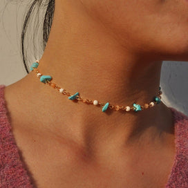 Stone bead necklace - Bohemian Turquoises Natural Gem Stone Beads Chain Choker Necklace Charming Women Pearl Short Collar