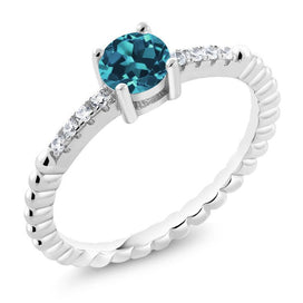Blue topaz engagement ring - 0.58 Ct Round London Blue Topaz 925 Sterling Silver Engagement Ring