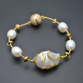 Wire wrap bracelet - Natural White Pearl Baroque Beads Gold Color Wire Wrapped Magnetic Clasp Cuff Bracelet Fashion Woman