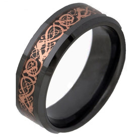 Celtic knot ring - 8MM Black Ceramic Ring Gold Celtic Dragan Inlay Wedding Band Engagement Rings For Women Fashion Jewelry