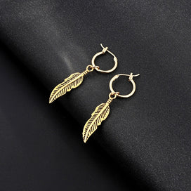 Gold feather earrings - Bohemia Simple Personality Feather Leaves Dangle Earring With Pendant Gold Color Leaf Drop Earrings