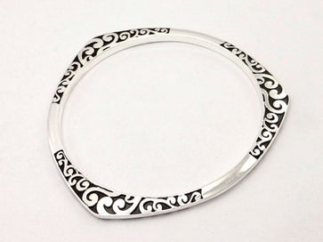 Cuff bangle bracelets - 925 Tibet Silver Round Triangle Flower Make Letter Design Black Nation Style Full Cuff Bracelet For