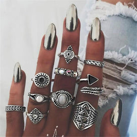 Wedding bands for women - 10pcs/Set Bohemia Antique Gold Silver Arrow Leaf Carved Rings Sets Rhinestone Knuckle Rings for