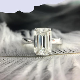 Emerald and diamond ring - 3 Carat Ct 7x11mm DF Grade Emerald Cut Engagement & Wedding Moissanite Baguette Lab Diamond In