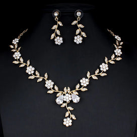 Bridal jewellery set - Classic Bridal Jewelry Sets For Women's Dresses Accessories Cubic Necklace Earrings Set Gold Color