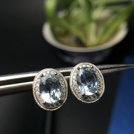 Stud earrings for women - Natural Aquamarine Gemstone Stud Earrings For Women Real 925 Sterling Silver Charm Fine Jewelry