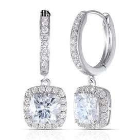 14k white gold earrings - 14K 585 White Gold 2.8CTW 6MM F Color Square Cushion Cut Moissanite Halo Hoop Earrings With Accents