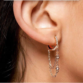 Cubic zirconia hoop earrings - Gold Filled 925 Sterling Silver Tassell Chain CZ Hoop Earring Elegance Women Gift Jewelry With