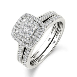 Diamond rings for women - 925 Sterling Silver Bridal Set Ring For Women With Paved Micro Lab Diamond Platinum Color Wedding