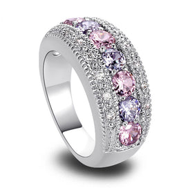 Diamond rings for women - Pave Setting Cubic Zirconia Ring Round Shape Wedding Engagement Ring Pink Purple Stone Imitation
