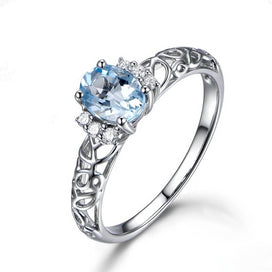Sterling silver rings for women - 1.25ct Oval Natural Sky Blue Gemstone Topaz Ring Solid 925 Sterling Silver Hollow Ring For