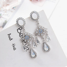 Long dangle earrings - Baroque Style Hollow Blue Rhinestone Flower Earrings For Women Korean Long Water Drop Crystal Pendant
