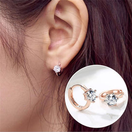 Cubic zirconia hoop earrings - 3 Color Zircon Circles Loops Small Huggie Hoop Earrings For Women Children Girls Kids Round