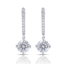 14k white gold earrings - 14K 585 White Gold 2CTW Center 6.5mm 1ct FGH Color Clear Moissanite Drop Earrings Gold With Accents